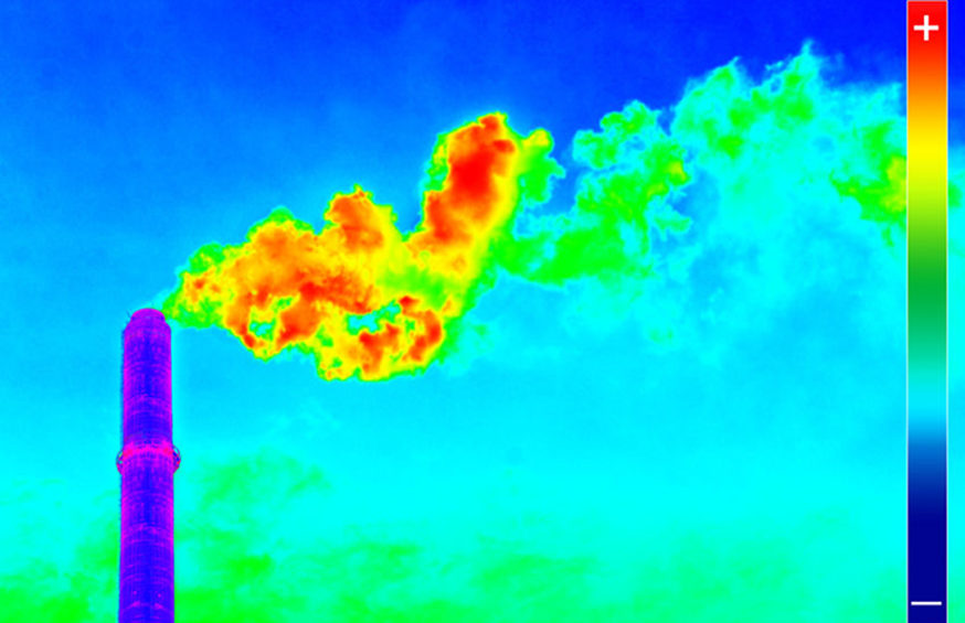 36820281 - infrared thermography image showing the heat emission at the chimney of energy station